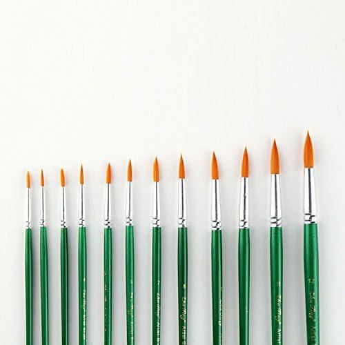 BJ-SHOP Pinsel Set,Multifunktionales Nylon Pinsel Kunst Multi-Shape Nylon Haar Malerei Pinsel fur Acryl Aquarell Ol Handwerk Rock Gesicht Malerei Pack von 12