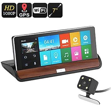 BW coche DVR Kit - 7 pulgadas, 2 Cámaras, GPS Navegación, Android OS, grabación de 1080p, 30 fps, Google Play, G-sensor: Amazon.es: Electrónica