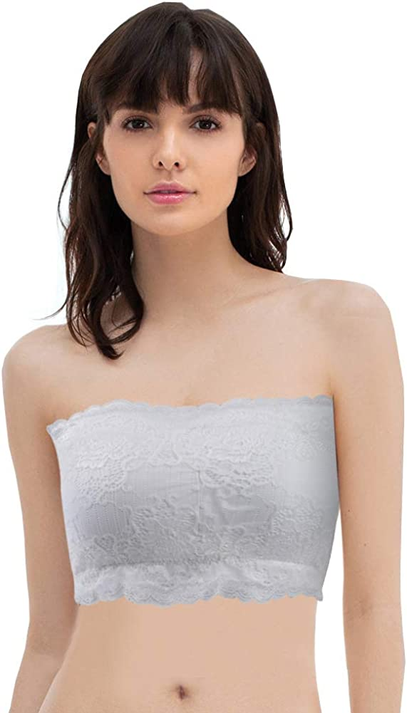 Somewell Juniors Strapless brarette Seamless Tube Top Bandeau Bra with Padding,2 Pk Black+White Lace for Pettite Women Small Size
