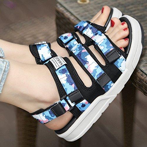 Xing Lin Sandalias De Mujer Sandalias Zapatos Estudiante Dama Amantes Casuales De Verano Zapatos Sneakers Exterior Camouflage blue