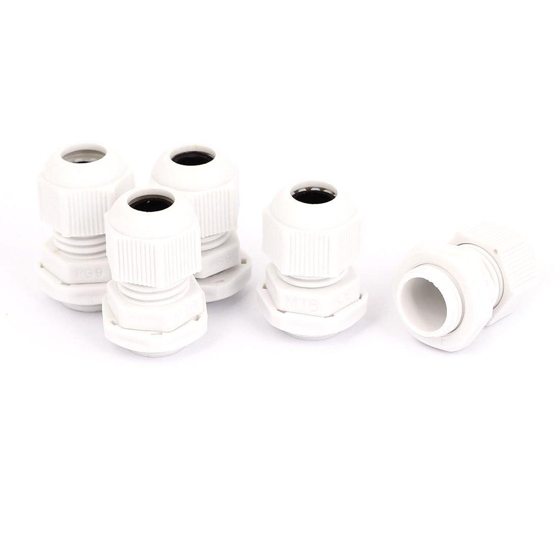 10 x Pasamuros Impermeables de Plastico Blanco M20 x 1.5 SODIAL R