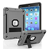 New iPad 9.7 inch 2017/2018 Case, MAKEIT CASE Hybrid Heavy Duty Kickstand Shock-Absorption/High Impact Resistant Armor Defender Case for 2017/2018 Released New iPad 9.7 inch (ST-Gray/Black)
