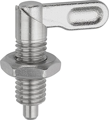 Style A M16 Thread Kipp 03099-1040616 Stainless Steel Cam Action Indexing Plunger Natural Finish 6 mm Locking Pin Diameter