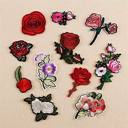 Embroidery Leaf Patch - 11pcs Embroidery Rose Flower Sew Iron On Patch Badge Bag Jeans Applique Craft Wholesale - Backpacks Extra Urban Pants Plaid Deadpool Decorative Love Quotes Roll Star Num