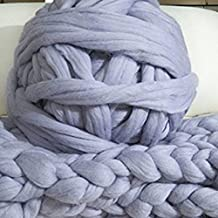 Light Grey Chunky 2.2lbs Wool Yarn,Merino Wool,Super Chunky Yarn,Bulky Yarn Extra Giant Yarn DIY Arm knit merino yarn,Roving Yarn