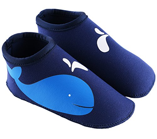 SUIEK Unisex Baby Infant Swim Shoes Water Shoes Beach Shoes (L (Sole length 5.9 inches, 24-36 Months), Dark Blue)