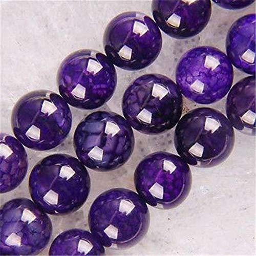 FidgetGear New!!!8mm Purple Dragon Veins Agate Round Loose Beads 15