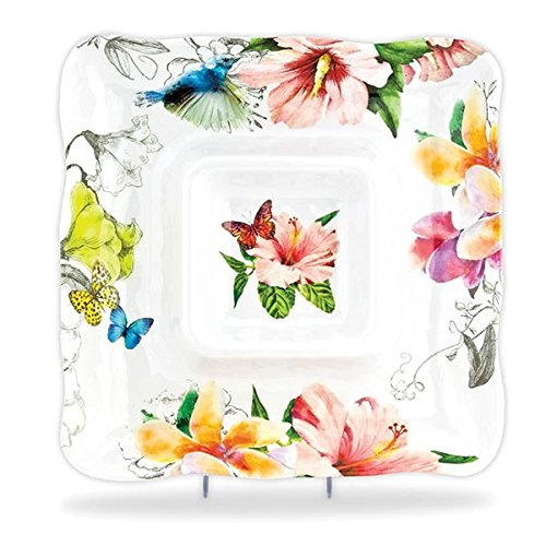Plumeria Flower Bowl (Michel Design Works Melamine Chip and Dip Serving Tray, Paradise)