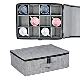 Cup and Mug Storage Box, Holds 12 Coffee Mugs and Tea Cups, Fully-Padded Inside with Sturdy Construction (Grey)