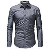 Men's Slim Fit Business Casual Solid Color Long Sleeves Solid Button Down Dress Shirts