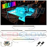 LEDGlow 6pc Million Color LED Boat Deck and Cabin Lighting Kit - 162 LEDs - Waterproof Connectors and Light Tubes - 2 Wireless Remotes