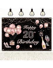 20e verjaardag decoraties achtergrond, gepersonaliseerde gelukkige verjaardag foto banners zwart rose goud 71x47 cm, fotografie achtergronden voor muur, geschenken voor verjaardagsfeest, vrouwen, haar, vrouw, vrienden