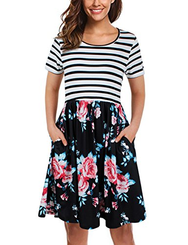 (UXELY Junior Scoop Neck Pleated Dress,Elegant Contrast Swing Dress,Black White M)