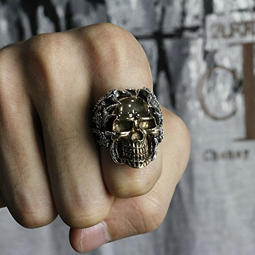 Bishilin Men's Rings Silver Plated Skull Partner Rings Silver Size 12 by Bishilin (Image #3)