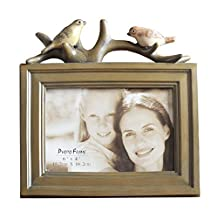 10x10.3 Resin Photo Frame with Mat for 6x8 Picture 2 Birds Table Top Photo Frame Brown