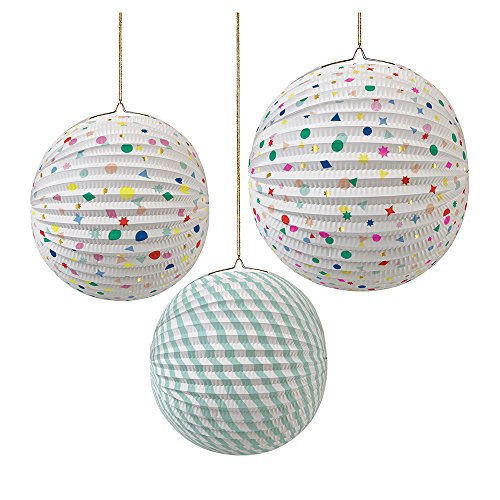 Meri Meri Toot Sweet Paper Globe Charms and Stripes Party Decorations -- Set of 3