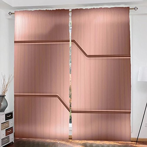 Copper Custom design Realistic Look Plate Bar Image Technology Inspired with Steel Surface Industry Print curtain Living Room Bedroom Window Drapes 2 Panel Set 108
