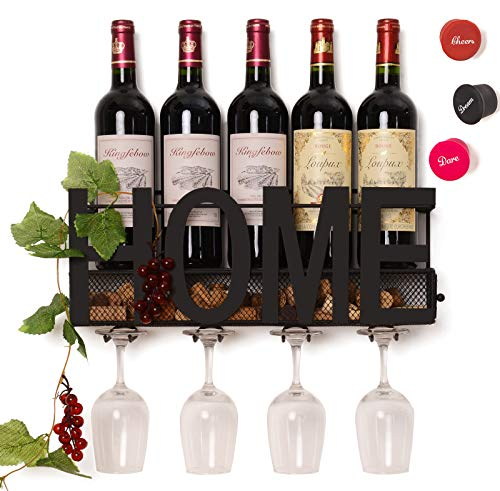 HOME Wall Mounted Wine Rack with Cork Storage