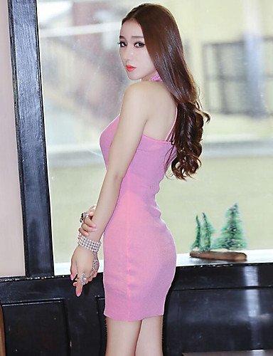 PU&PU Robe Aux femmes Moulante Simple,Couleur Pleine Col Arrondi Mini Polyester , pink-xl , pink-xl