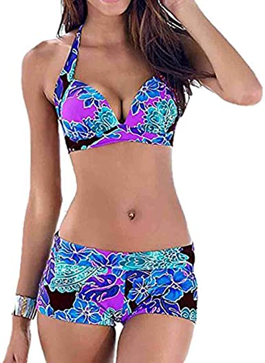 Tefamore Bikinis Mujer 2019 Sexy Push up Brasileño Bikini con Pantalón Corto Trajes de Baño Estampado Acolchado Traje de Bañador Ropa de Playa Bikinis Brasileños Mujer: Amazon.es: Ropa y accesorios