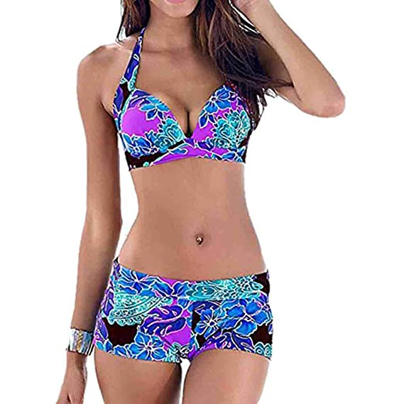Frauen Blumen Push-Up Strand Bikini Set Badeanzug Langarm Badeanzug Bademode
