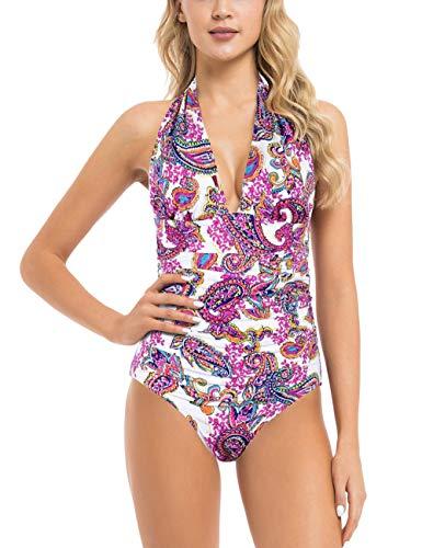 Hilor Women's Plunge Deep V Neck One Piece Swimsuit Tummy Control Monokinis Bikinis 6 White&Orange Paisley