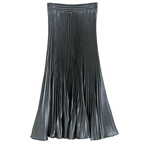 en Mousseline Taille Jupe Soie Pliss Femmes Elastique Gris Robes de Fonc BOZEVON Longue t0HYwRtx