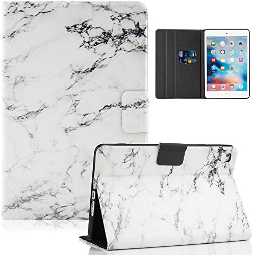 iPad Air 1st Case, Dteck(TM) Stylish Art Prints Leather Flip Stand Smart Cover with Auto Wake/Sleep Feature Magnetic Snap Smartshell for iPad Air/5th 9.7 inch 2013 Model, White Marble