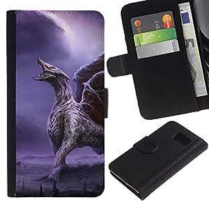 iKiki Tech / Cartera Funda Carcasa - Dragon Wings Purple Lightning Wings - Samsung Galaxy S6 SM-G920