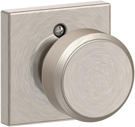 Bowery Knob with Collins Trim Non-Turning Lock, Satin Nickel (F170 BWE 619 COL)