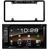 "Kenwood 6.2"" 2-Din In-Dash Sirius/MP3/WMA DVD Monitor Bluetooth Receiver, Enrock Car License Plate Frame Rear View Backup Waterproof Camera"