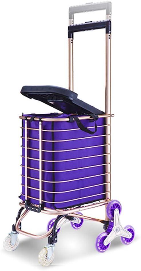 Escalera carrito de compras con 8 ruedas / asiento / bolsa de 30L de capacidad Bolsa de aluminio con aleación ligera Cesta de supermercado carrito de compras Mango ajustable en marco de