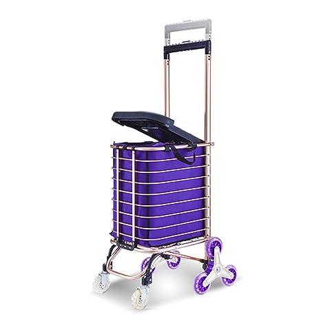 Escalera carrito de compras con 8 ruedas / asiento / bolsa de 30L de capacidad Bolsa de aluminio con aleación ligera Cesta de supermercado ...