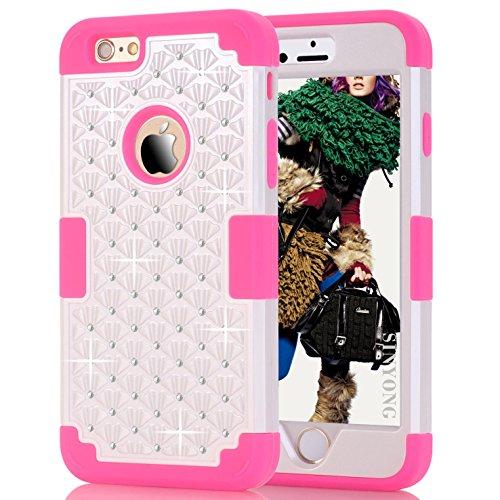 iPhone 6 Plus Case, SinYong Studded Diamond Hybrid Crystal Rhinestone Case, Bling Silicone Skin Bumper Case For Apple