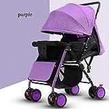 QXMEI Baby Stroller Light Seated Reclining Umbrella Light Portable Folding Children's Cart Four-wheel Bamboo Baby Stroller,Purple