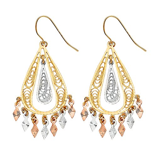 Earrings Gold Filigree White (FB Jewels 14K White Yellow And Rose Gold Filigree Hanging Chandelier Dangle Womens Earrings 47MM X 21MM)
