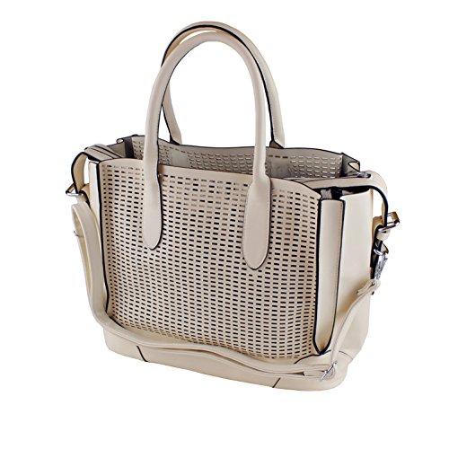 Damen Handtasche Henkeltasche beige creme Tasche PU Leder Freizeittasche Umhängetasche Shopper Schultertasche Damentasche Designertasche