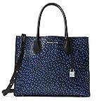 MICHAEL Michael Kors Mercer Large Leopard Leather Tote Bag , Electric Blue Black