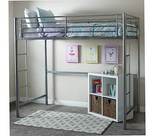 Wе Furniturе Twin Metal Loft Bed, Silver ()