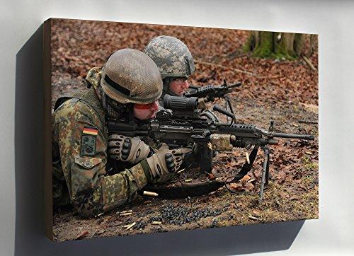 Canvas 16x24; German Army With U.S. M249 Light Machine Gun