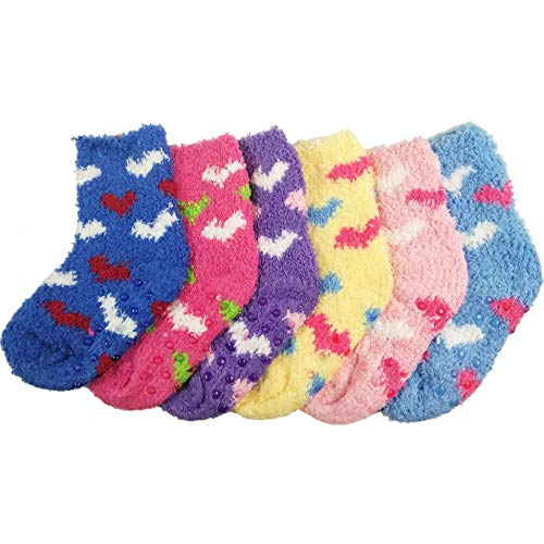 DEBRA WEITZNER Fuzzy Socks For Kids Toddlers Non Skid Slipper Socks With Grips Hearts 2-4 yr 6 Pairs