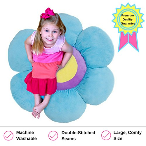 Daisy Kids (Flower Pillow to be Used as Floor Pillow or Decorative Pillow - Adorable Daisy Flower Shape and Color Blue - Large, Soft and Cozy Pillow for Floor Sitting, Playtents, Girls Bedroom Decor)