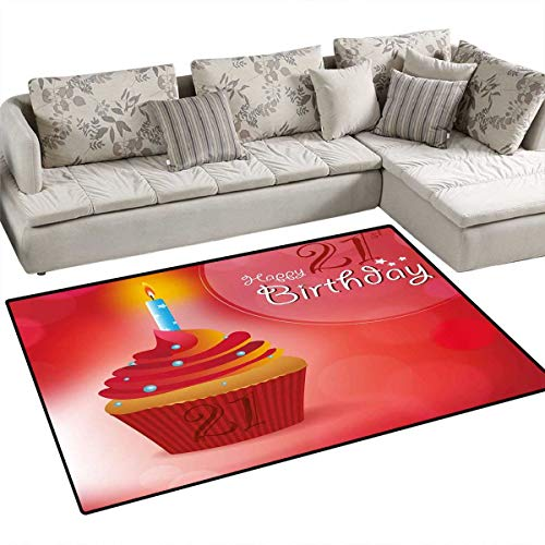 21st Birthday Door Mats Area Rug Abstract Sun Beams Backdrop Party Delicious Cupcake with Frosting Image Bath Mat Non Slip 3'x5' Red and Orange -