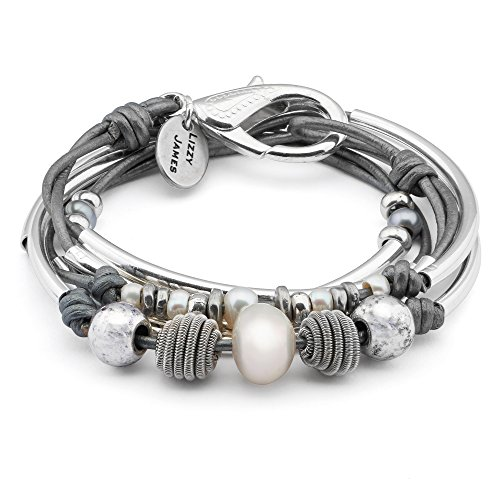 Lizzy James Maribel 2 Strand Silver Plate Wrap Bracelet Necklace in Metallic Silver Leather w Pearl