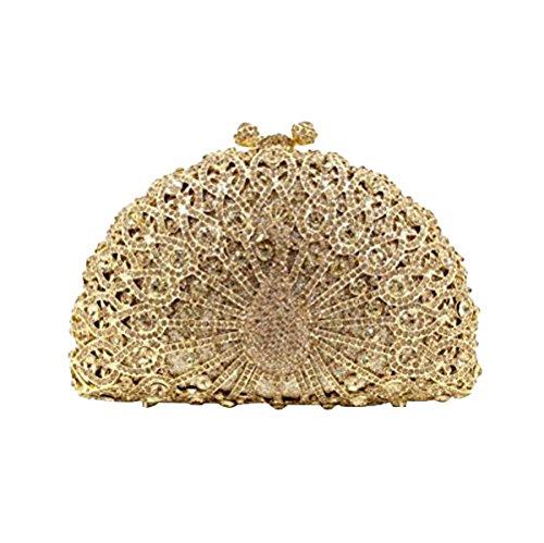 Paon à Purse Cristal Clutch Glitter Sac Embrayages Soirée Soirée Gold main Femmes Diamonds Banquet Sac Adw7pAq