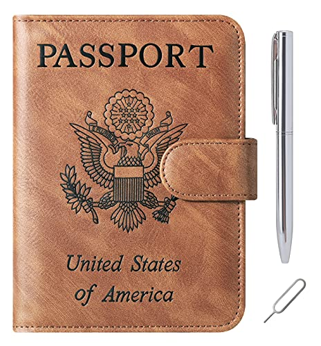 Passport Holder Cover Wallet Case for Women Men RFID Blocking Leather Travel Wallets Travel Accessories (A-Yellow brown)