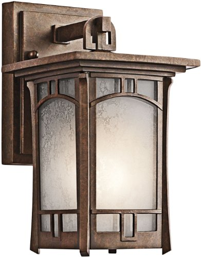 Kichler 49449AGZ, Soria Cast Aluminum Outdoor Wall Sconce Lighting, 75 Watts, Aged Bronze -