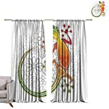 WinfreyDecor Batik Kids Room Curtains Native Southeast Asian Common House Gecko Moon Lizard Tropical...