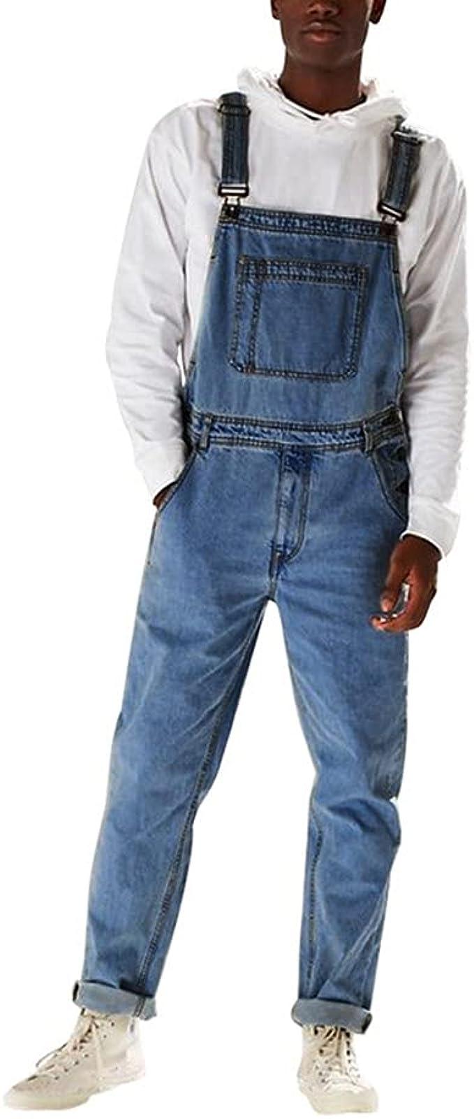 Herren Latzhose Cargo Jeans Latzjeans Cargo Denim Arbeitshose Overall Dungarees