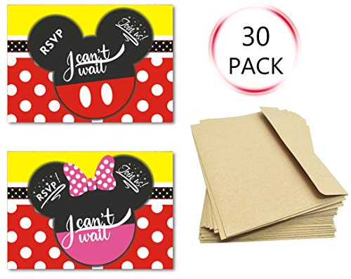 30Pcs Invitations Cards with Envelopes for Kids Birthday Baby Shower Mickey and Minnie Theme Party Supplies -